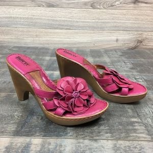 Born leather flower heeled sandal